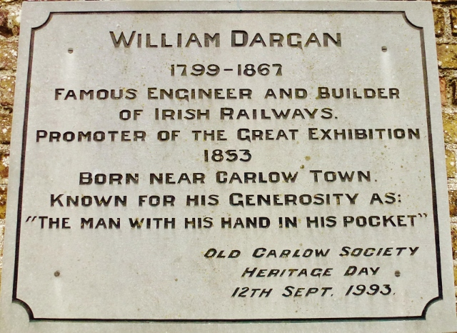 Plaque at Carlow Station for Railway Engineer William Dargan Photo: © Michael Fisher