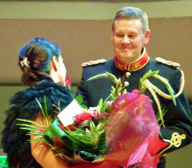 Celine Byrne and Lt Col Mark Armstrong are applauded  Photo: © Michael Fisher