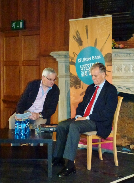 Stephen Walker interviewed Jonathan Aitken at the Belfast Festival Photo: © Michael Fisher