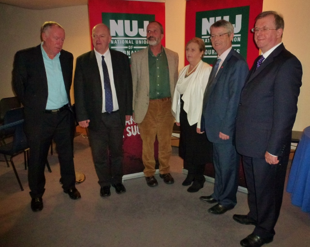 Five of the ten new NUJ life members in Dublin  Photo: © Michael Fisher