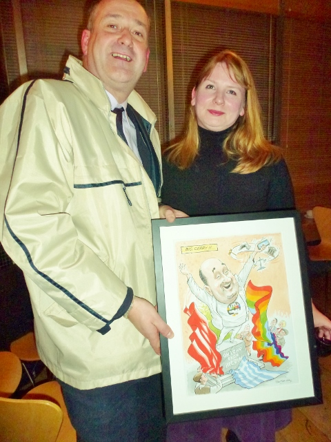IEC Cathaoirleach Gerry Curran received a gift of a framed cartoon. Pictured with Michelle Stanistreet  Photo: © Michael Fisher