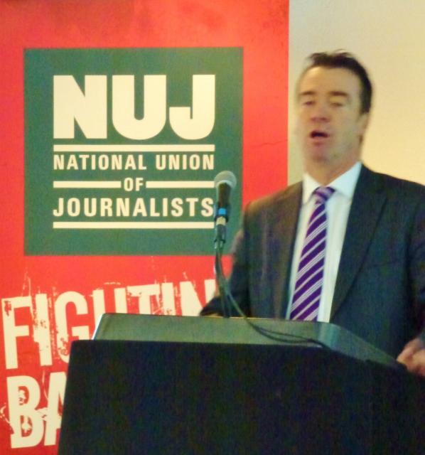 ICTU President Gerry Douglas addresses NUJ BDC Photo: © Michael Fisher