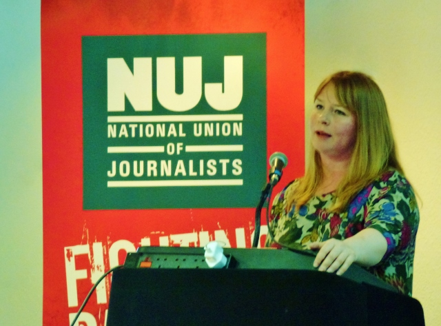 NUJ General Secretary Michelle Stanistreet addressing the BDC  Photo: © Michael Fisher