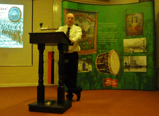 Quincey Dougan, talking about the UVF in Monaghan in June  Photo: © Michael Fisher