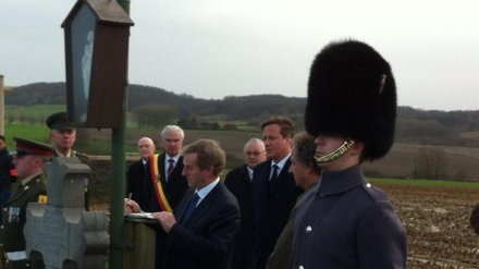 Enda Kenny & David Cameron at grave of Willie Redmond MP  Photo: Irish Embassy Belgium via twitter
