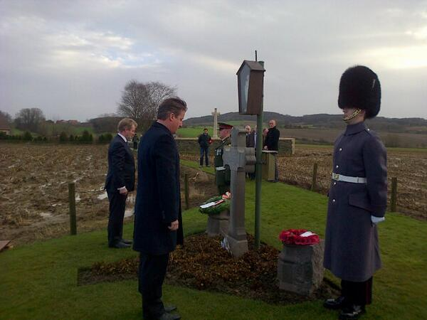 Enda Kenny & David Cameron at grave of Willie Redmond MP  Photo: Paschal Donohoe via twitter