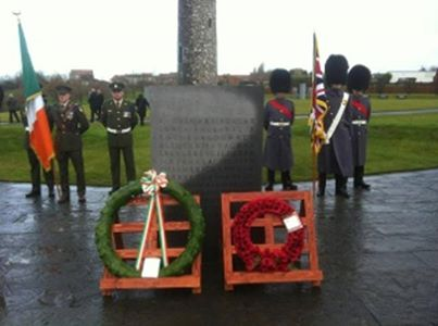 Wreaths laid at Irish Peace Park, Messines  Photo: Defence Forces via twitter