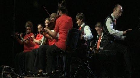 Knockmore Céilí Band at the Fleadh  Photo: BBC (NI)