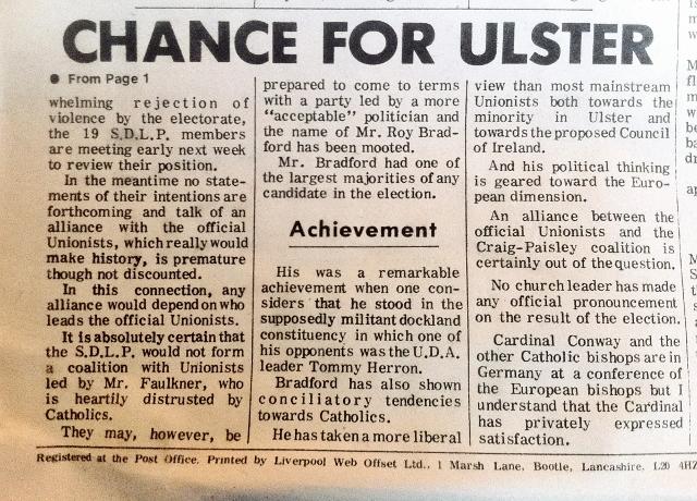 Back Page The Irish Universe July 1973  Photo:  © Michael Fisher