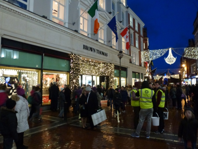 Belvedere College students among the crowds in Grafton Street Dublin  Photo: © Michael Fisher