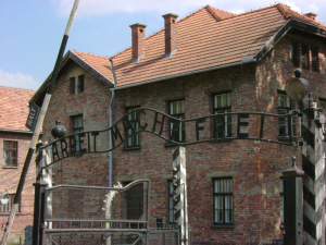Auschwitz camp entrance  Photo:  © Michael Fisher