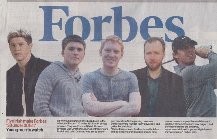 Five Irish in Forbes '30 under 30'   Photo from The Irish Times