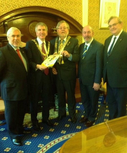 Lord Mayor of Belfast Máirtín Ó Muileor with Lions 105I District Governor Liam Lyons, PDG Sean Sandford, PDG James O'Sullivan & Michael Fisher (Belfast Club)