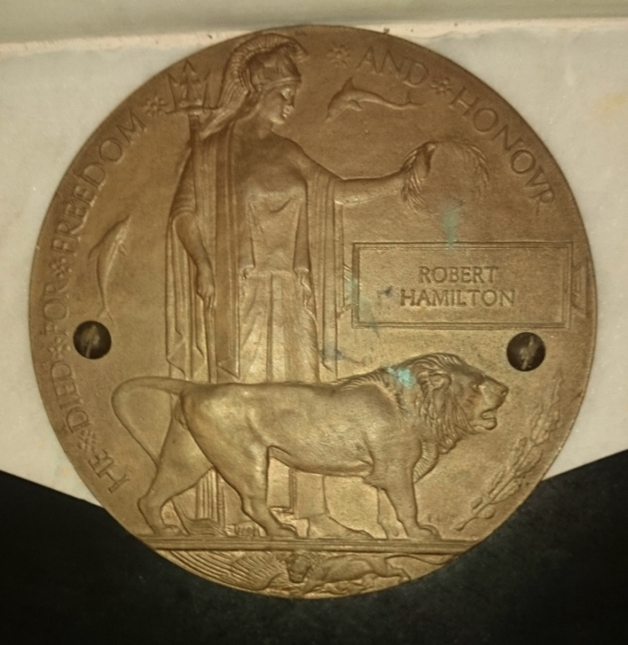 'Dead Man's Penny' with Robert Hamilton's name in the plaque in Ballinode