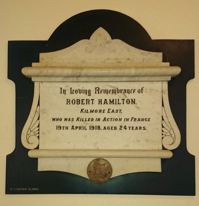Plaque for Robert Hamilton, St Dympna's Church Ballinode  Photo:  © Michael Fisher
