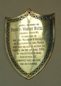 Plaque in St Dympna's Ballinode to Francis Hazlett, Canadian Infantry, died June 1916 Photo:  © Michael Fisher