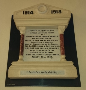Plaque in St Dympna's Ballinode to Vivian Abbott, Canadian Infantry, died August 1917 Photo:  © Michael Fisher