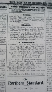 In Memoriam notice 4th anniversary death of Pte Robert Hamilton. Northern Standard April 1922