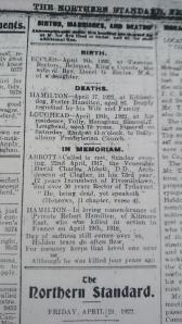 In Memoriam notice 4th anniversary death of Pte Robert Hamilton. Northern Standard April 1922