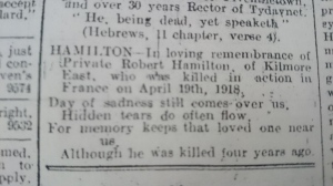 In Memoriam 4th anniversary notice for Pte Robert Hamilton. Northern Standard April 1922