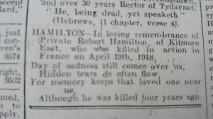 In Memoriam 4th anniversary notice for Pte Robert Hamilton. Northern Standard April 1922