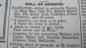 Roll of Honour Death Notice (with incorrect date and age) for Pte Hamilton Northern Standard June 1918