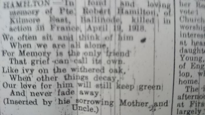 In Memoriam notice 1st anniversary death of Pte Robert Hamilton. Northern Standard April 1919