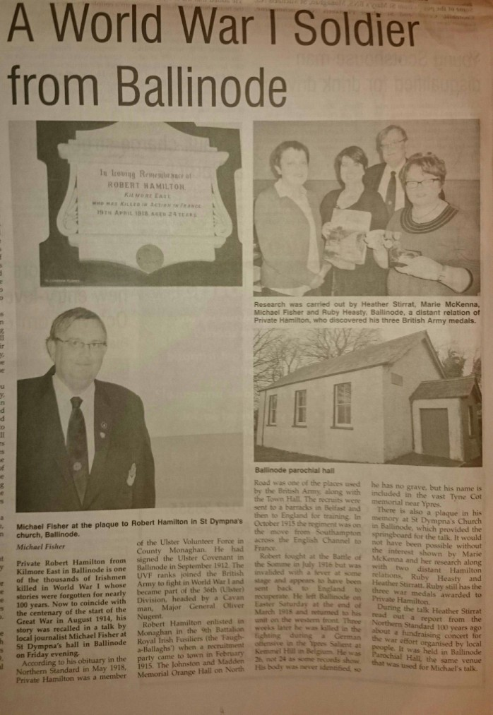 Michael Fisher report in Northern Standard Thursday 27th November 2014 p.6