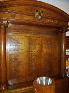 WW1 Memorial in chapel at Wimbledon College SJ  Photo:  © Michael Fisher