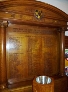 WW1 Memorial in chapel at Wimbledon College SJ  Photo:  © Michael Fisher