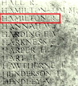 Tyne Cot Memorial Panel 140/1 Naming R.Hamilton Photo: Friends of 36th (N.Antrim) website