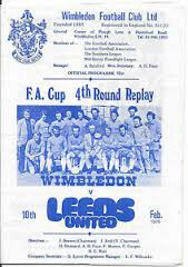 Wimbledon v Leeds United FA Cup (4) replay February 10th 1975 Programme: ebay sale
