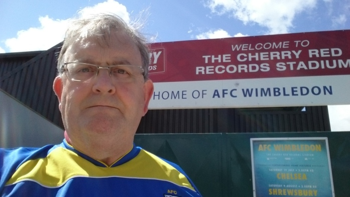 Michael Fisher at AFC Wimbledon Kingsmeadow in August 2014  Photo:  © Michael Fisher