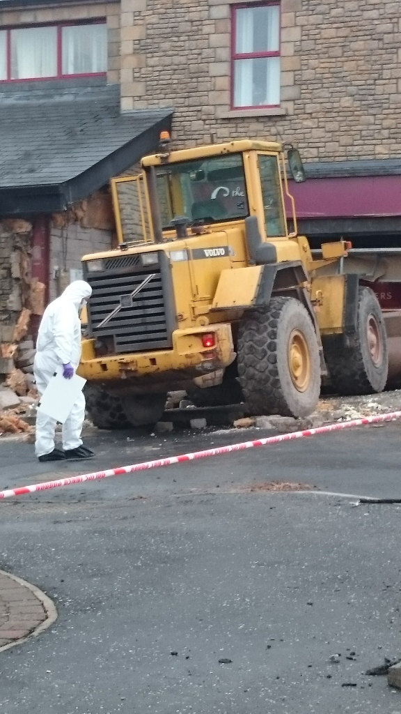 Police examine scene of attempted raid in Aughnacloy Photo: © Michael Fisher