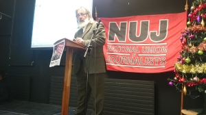 NUJ Belfast & District Branch Chair Bob Miller opens the seminar  Photo: © Michael Fisher