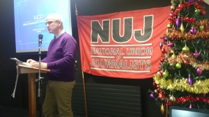 Ciaran Ó Maolain speaking at the NUJ seminar  Photo: © Michael Fisher