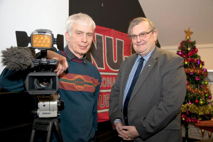 NUJ life member Michael Fisher with former RTÉ News cameraman Bryan Drysdale  Photo:  © Kevin Cooper