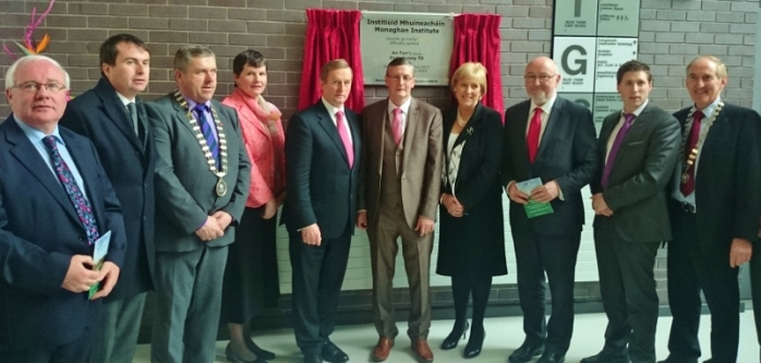 Taoiseach Enda Kenny TD unveils plaque at Monaghan Educational campus with CEO of CMETB Martin O'Brien and local politicians  Photo: © Michael Fisher