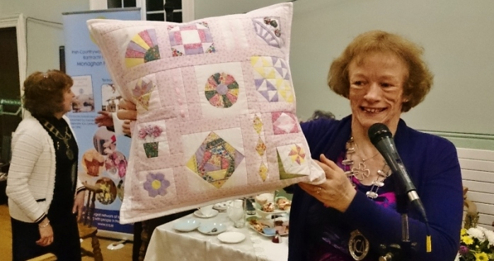 ICA Monaghan Federation President Patricia Cavanagh holds up a prizewinning quilted cushion Photo: © Michael Fisher