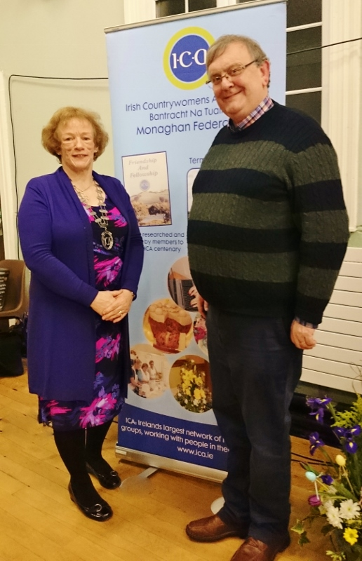 ICA Monaghan Federation President Patricia Cavanagh and guest speaker Michael Fisher at the ICA meeting in Clones