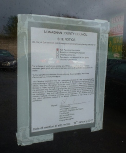 Planning Notice posted on door of the commercial unit on January 16th 2015  Photo: © Michael Fisher