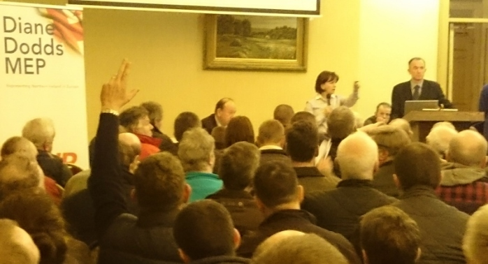 Diane Dodds MEP addressing the packed room at Corick House Hotel Photo: © Michael Fisher