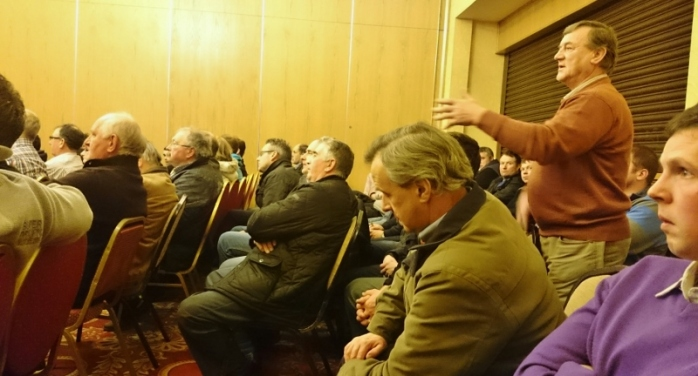 A farmer asks a question about flooding at the CAP roadshow Photo: © Michael Fisher