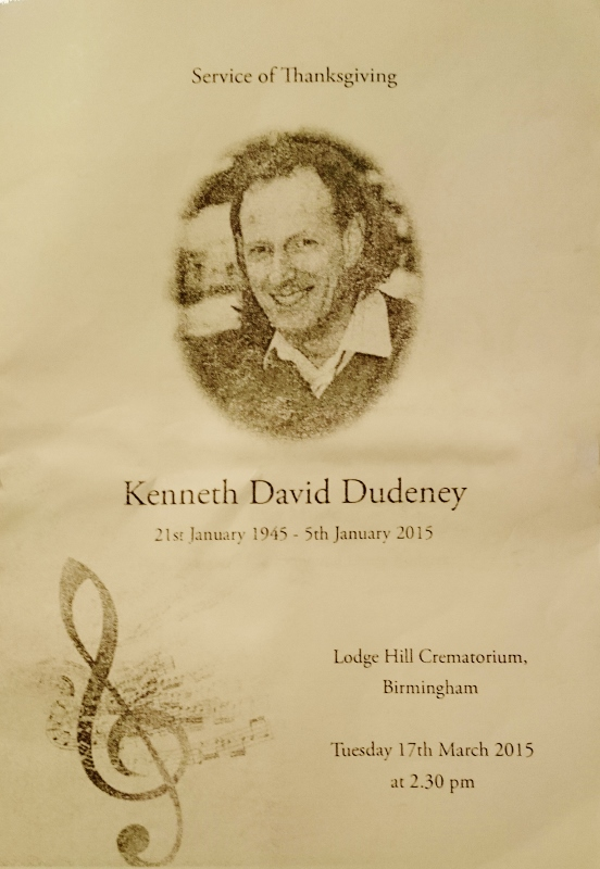 Order of Service: Ken Dudeney RIP