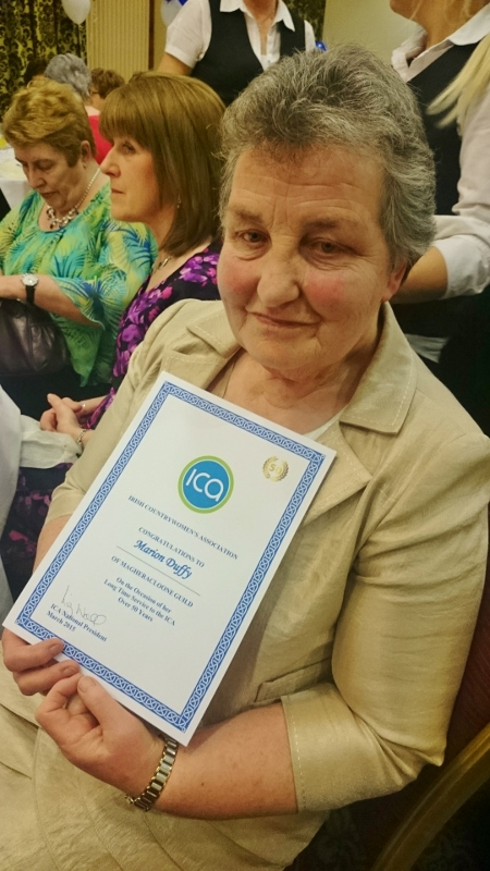 Marion Duffy ICA Magheracloone Guild with her long service certificate 50 years  Photo:  © Michael Fisher