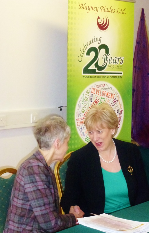 Arts Minister Heather Humphreys TD at Blayney Blades congratulates their Woman of the Year 2015 Sr Catherine Brennan  Photo: © Michael Fisher
