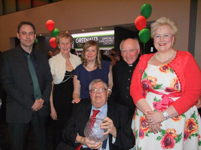 Tommy McKenna with his son Tom McKenna, wife Regina McKenna and daughters Siobhan & Regina and friend Fr Paddy McMahon, Emyvale, of the Monaghan Association, Manchester. Photo: © Bernie O'Brien.