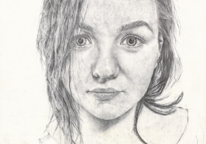 Frances Treanor (Tydavnet) Self-Portrait in Ballpoint Pen: Overall Prizewinner in Texaco Children's Art competition Photo: Texaco Art webpage