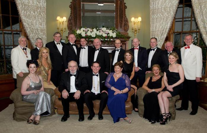 Monaghan Lions Club Charter Dinner 2015 at Castle Leslie with Lion Lesley Goggins (front left) and Past President and Past DG Bill Goggins (back right); Past District Governor Sean Sandford (back left);  Second Vice District Governor Paul Allen and Lion President Adrian McElvaney (centre)