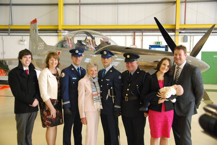 The two Air Corps Lieutenant Mohans with their grandmother Teresa (centre), parents Brian and Geraldine and brother Barry (left) and sister Aoife Swarbrick (right)  at the ceremony in Baldonnel. Photo courtesy of Brian Mohan
